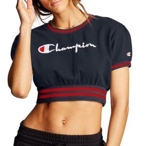 Champion Women Fleece Cropped Crew Top Tee T-shirt